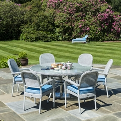Alexander Rose 6 Seater Open Weave Rattan Round 155cm Dining Set with Stackable Armchairs