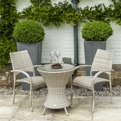 Alexander Rose Ocean Pearl Fiji Rattan 60cm Bistro Set With Stacking Armchairs