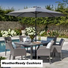 Hartman Atlanta 6 Seat Set Weatherready Cushions Platinum/Pebble