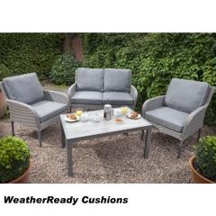 Hartman Atlanta Lounge Set Weatherready Cushions Platinum/Pebble