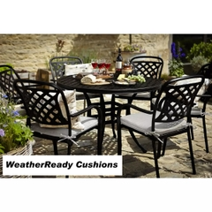 Hartman Berkeley 6 Seat Round Table Set Weather Ready Cushions Midnight/Shadow