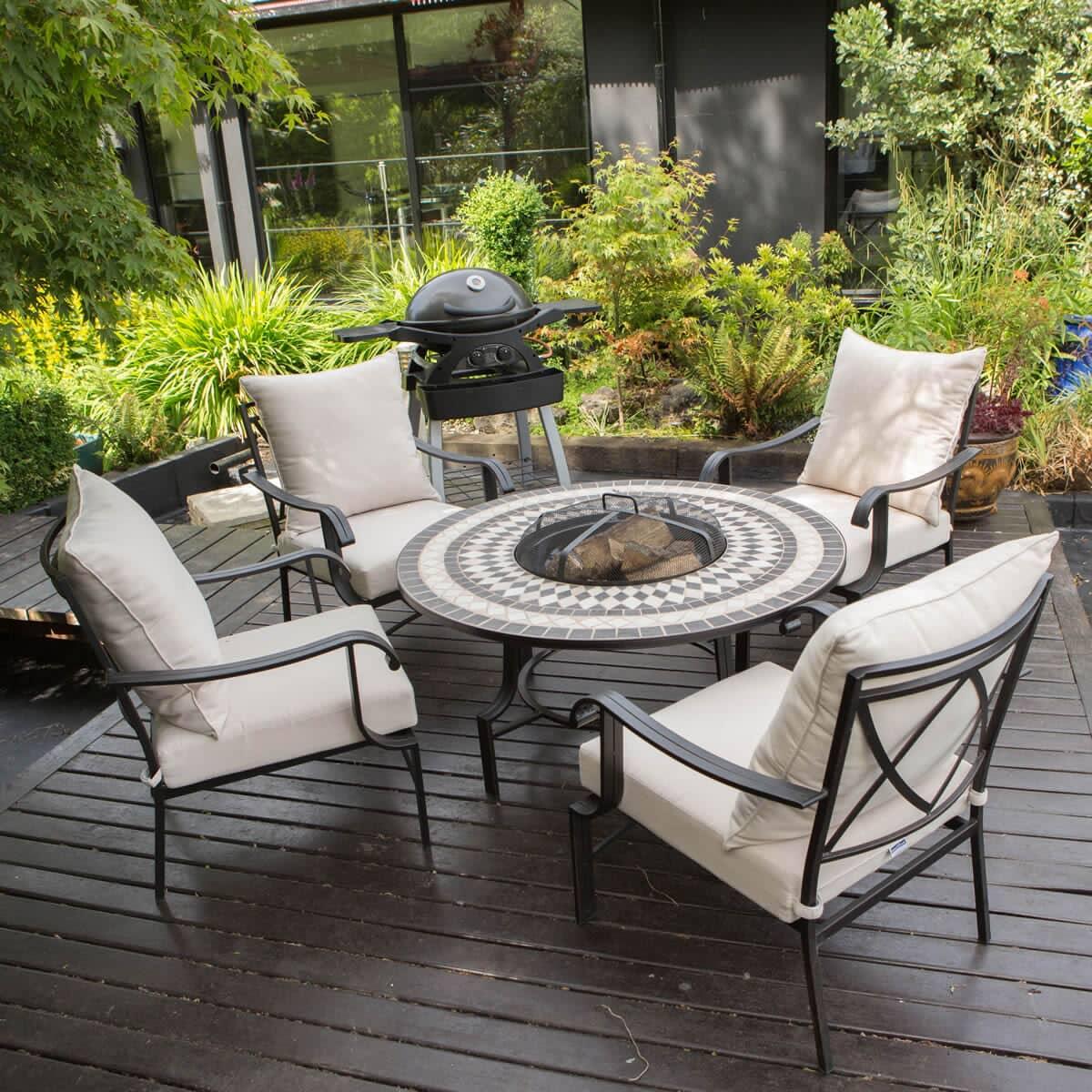 LG Outdoor Casablanca 4 Seat Charcoal Firepit Lounge Set ...
