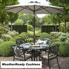 Hartman Capri 4 Seat Round Table Set Weatherready Cushions Bronze/Wheatgrass