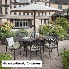 Hartman Capri 6 Seat Oval Table Set Weatherready Cushions Bronze/Wheatgrass