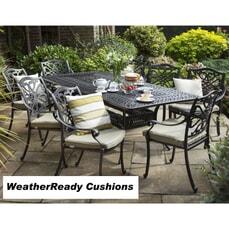 Hartman Capri 6 Seat Rectangular Table Set Weatherready Cushions Bronze/Wheatgrass