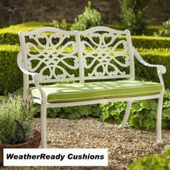 Hartman Capri Zest Bench Weatherready Cushions Royal White/Lime