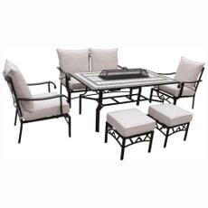 LG Outdoor Casablanca EDEN Rectangular Lounge Dining Firepit Set