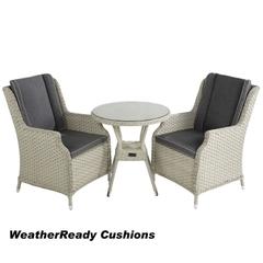 Hartman Hartford Bistro Set Weatherready Cushions White Wash/Pebble