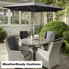 Hartman Hartford 4 Seat Round Table Set Weatherready Cushions White Wash/Pebble