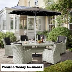 Hartman Hartford 6 Seat Oblique Table Set Weatherready Cushions White Wash/Pebble