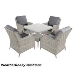 Hartman Hartford Square Casual Lounge Set Weatheready Cushions White Wash/Pebble