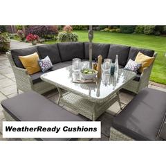Hartman Hartford Curved Casual Dining Set Weatherready Cushions White Wash/Pebble