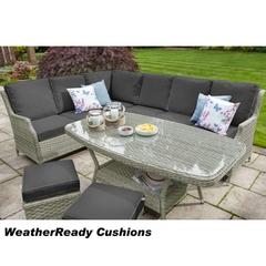 Hartman Hartford Rectangular Casual Dining Set Weatherready Cushions White Wash/Pebble