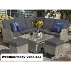Hartman Hartford Square Adjustable Casual Dining Set Weatherready Cushions Whitewash/Pebble