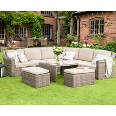 Hartman Bali Curved Modular Set With Tweed Weather-Ready Cushions