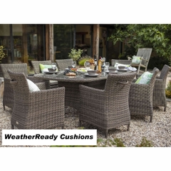 Hartman Bali Oblique 8 Seat Set - Driftwood/WeatherReady Tweed