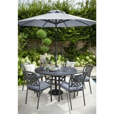 Hartman Berkeley 6 Seat Round Table Set Antique Grey/Platinum