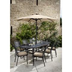 Hartman Berkeley 8 Seat Oval Table Set Traditional Bronze/Amber