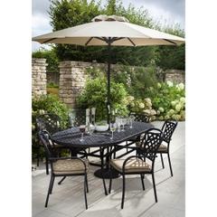 Hartman Berkeley 6 Seat Oval Table Set Traditional Bronze/Amber ( No Parasol )
