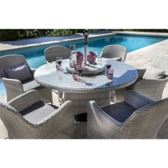 Hartman Curve 6 Seat Round Set with Lazy Susan Cool Grey/Dove