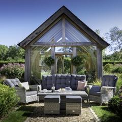 Hartman Heritage Tuscan 3 Seat Reclining Lounge Set with Adjustable Table Ash/Slate