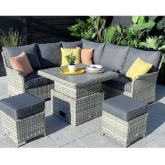Hartman Heritage Tuscan Square Casual Dining Set with Adjustable Table Ash/Slate
