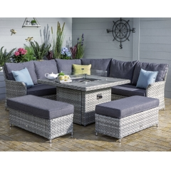Hartman Heritage Tuscan Grand Square Casual Dining Set with Gas Fire Pit Ash/Slate