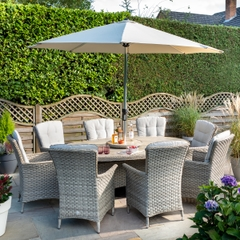 Hartman Heritage Tuscan 8 Seat Elliptical Dining Set with Lazy Susan Beech/Dove