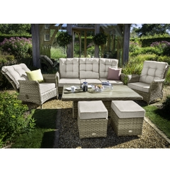 Hartman Heritage Tuscan 3 Seat Reclining Lounge Set with Adjustable Table Beech/Dove