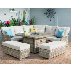 Hartman Heritage Tuscan Grand Square Casual Dining Set with Gas Fire Pit Beech/Dove