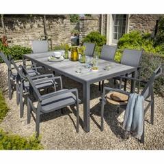 Hartman Georgia 8 Seat Ceramic Rectangular Table Set - Platinum/Dusk