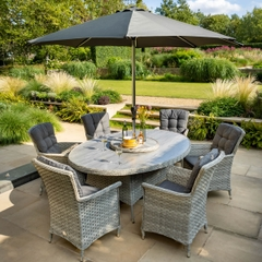Hartman Heritage Tuscan 6 Seat Elliptical Dining Set with Tuscan Ceramic Glass Ash/Slate
