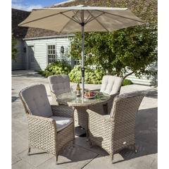 Hartman Heritage 4 Seat Round Garden Furniture Set Beech/Dove Glass Top