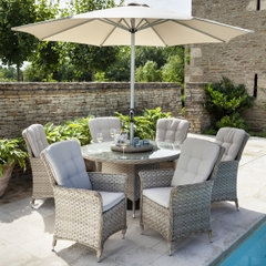 Hartman Heritage 6 Seat Round Garden Furniture Set with Lazy Susan Beech/Dove