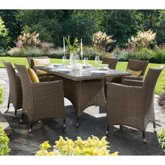 Hartman Madison 6 Seat Rectangular Table Set Weatherready Cushions Bark/Sand