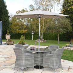 Hartman Ellipse 4 Seat Dining Set with Parasol