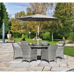 Hartman Ellipse 6 Seat Dining Set with Lazy Susan and Parasol