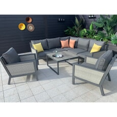 Hartman Nouveau Square Casual Dining Set With Lounge Chairs