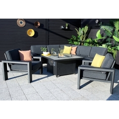 Hartman Titan Square Gas Fire Pit Casual Dining Set With Lounge Chairs Carbon/Nebula