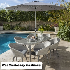 Hartman Sienna 6 Seat Oval Table Set Weatherready Cushions Antique White/Pebble