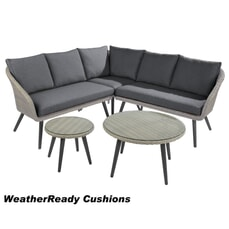 Hartman Sienna Round Coffee Table Corner Set Weatherready Cushion Antique White/Pebble