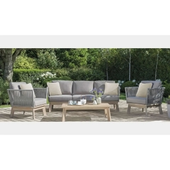 Kettler Adelaide Rope Casual Dining 3 Seat Sofa with 2 Dining Chairs