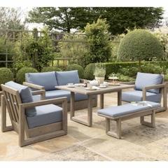 90c4249ad077 Kettler Ezra 2 Seat Sofa Set Ash Grey With Blue Cushions