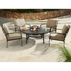 Jamie Oliver Contemporary Garden Firepit Set 2017 Bronze with Biscuit Cushions