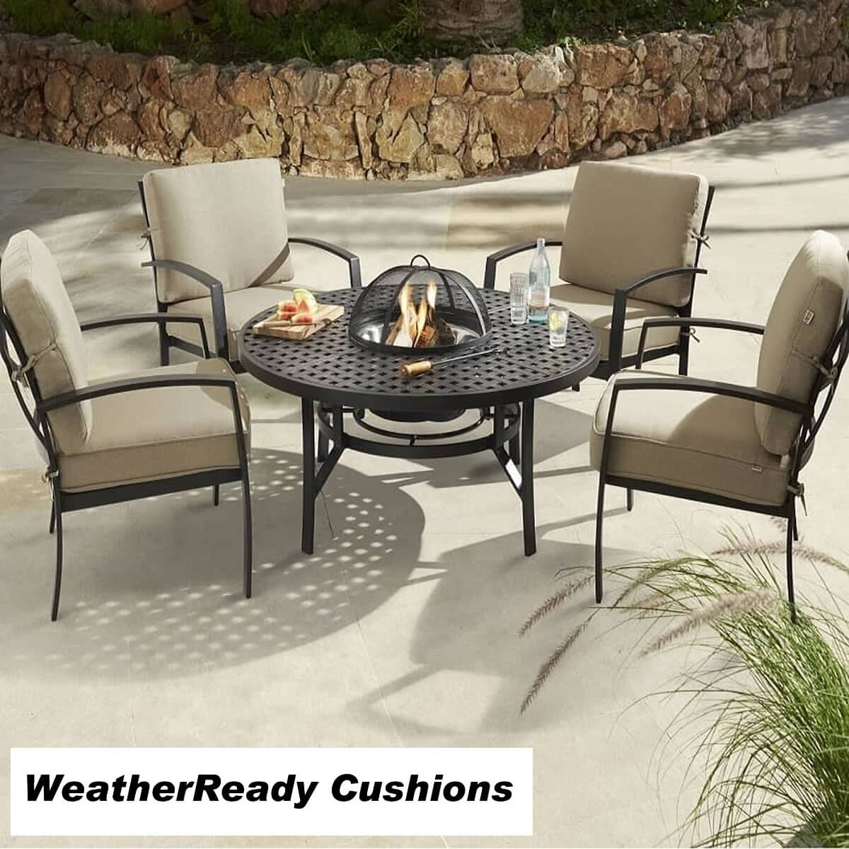 hartman jamie oliver fire pit set weather ready cushions bronze biscuit joset18wrcbb02. Black Bedroom Furniture Sets. Home Design Ideas