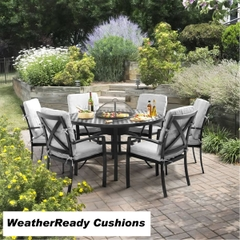 Hartman Jamie Oliver Contemporary 6 Seat Grilling Set Weatherready Cushions Riven/Pewter
