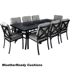 Hartman Jamie Oliver Contemporary Feastable 8 Seat Set Weatherready Cushions Riven/Pewter