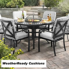 Hartman Jamie Oliver Contemporary 4 Seat Grilling Set Weatherready Cushions Riven/Pewter