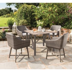 Kettler LaMode - 4 Seat Dining Set with Aluminium Wood Effect Table Top