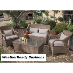 Hartman Kingsbury Lounge Set Weatherready Cushions Bark/Sand